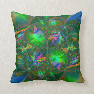 Tangled Destiny Psychedelic Fractal Throw Pillow
