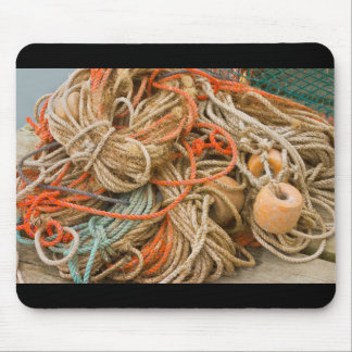 Tangled Rope And Fishing Equipment On Dock Mouse Pad