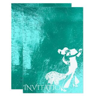 Tango Classic Dance Tiffany Aqua White Blue Card