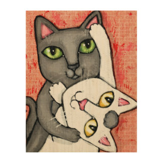 Tango Dance Cats Whimsical Wood Wall Art