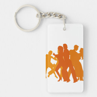 Tango Dancers Illustration Double-Sided Rectangular Acrylic Keychain