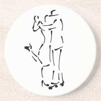 Tango Dancers Ink Brush design Coaster