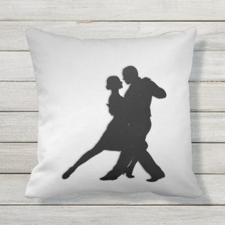 Tango Dancers Silhouette Outdoor Pillow