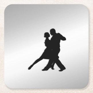 Tango Dancers Silhouette Square Paper Coaster