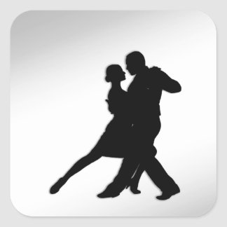 Tango Dancers Silhouette Square Sticker