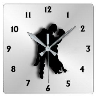 Tango Dancers Silhouette  Twelve Numbers Square Wall Clock