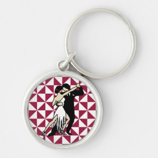Tango Dancers Silver-Colored Round Keychain