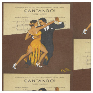 Tango Dancers Vintage Poster Print Fabric