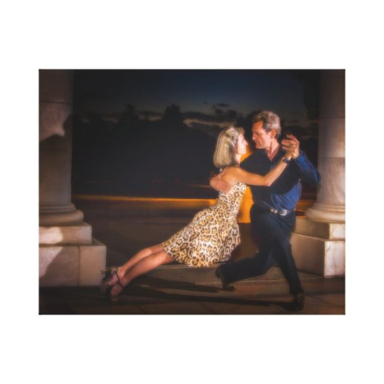 Tango dancing at dusk canvas print