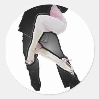 Tango legs classic round sticker