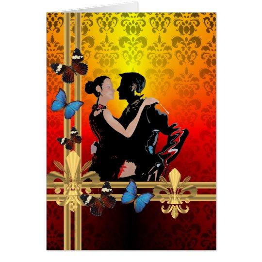 Tango on damask card