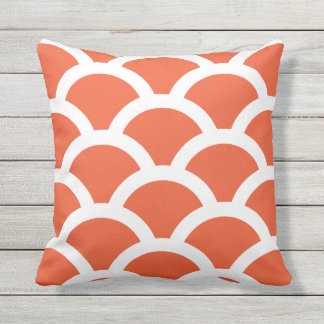 Tango Orange Outdoor Pillows - Circles Pattern