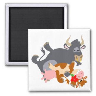 Tango ! ! (taureau et vache de bande dessinée) aim magnets pour réfrigérateur