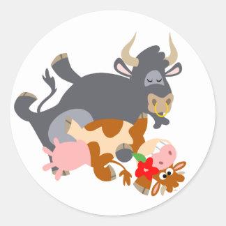 Tango ! ! (taureau et vache de bande dessinée) aut adhésifs ronds