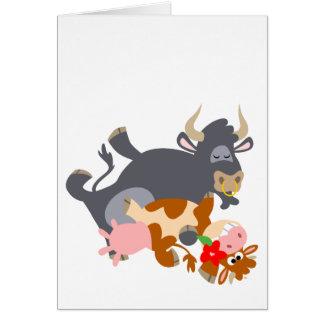 Tango ! ! (taureau et vache de bande dessinée) car cartes de vœux