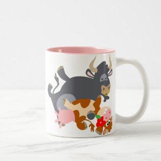 Tango ! ! (taureau et vache de bande dessinée) mug bicolore