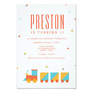 Tangram Train Birthday Invitation