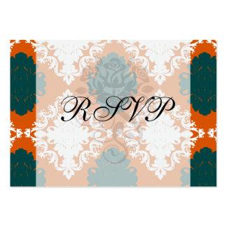 tangy orange teal white damask pattern large business card