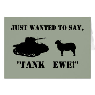 Tank Ewe Funny Thank You Cards