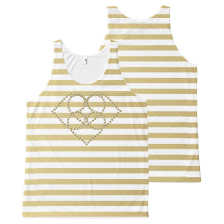 Tank top-All-Over Printed/Gold stripes and graphic