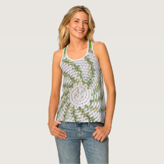 Tank top (ao) - Green Spiral on White