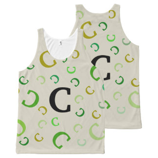 Tank Top (ao) - Shades of Green Tumbling Letter