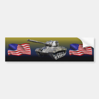 Tank with U.S. Flags - Bumper Sticker