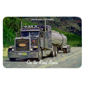 Tanker Truck Highway Driving Art Magnet