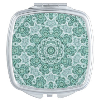 Tantalizing in teal compact mirror