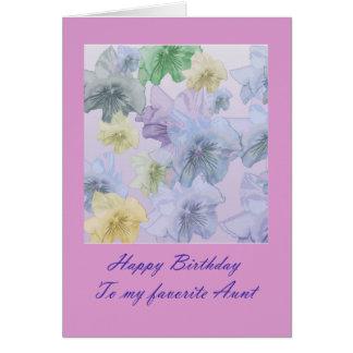 Tante florale violette Card de joyeux anniversaire Carte De Vœux