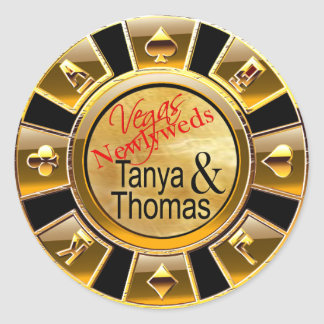 Tanya & Thomas Las Vegas Casino Chip black/gold Round Sticker