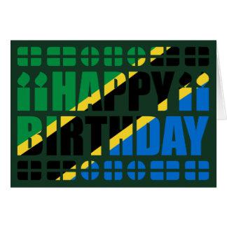 Tanzania Flag Birthday Card