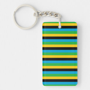 Tanzania flag stripes colour lines pattern keychain