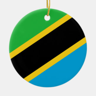 Tanzania National World Flag Round Ceramic Ornament