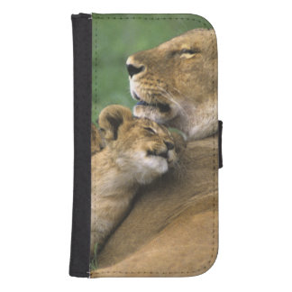 Tanzania, Ngorongoro Crater. African lion mother Galaxy S4 Wallets