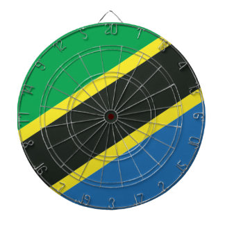 Tanzanian flag dartboard with darts
