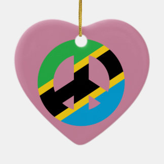 Tanzanian Peace Symbol Ceramic Heart Ornament