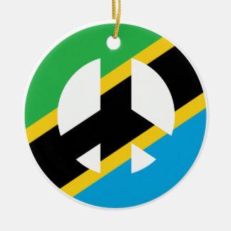 Tanzanian Peace Symbol Round Ceramic Ornament