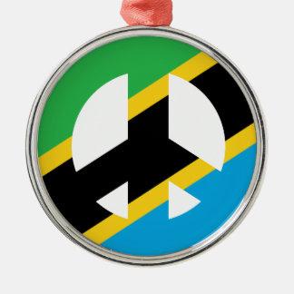 Tanzanian Peace Symbol Silver-Colored Round Ornament