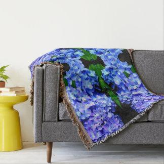 Tanzanite Hydrangeas mandala Throw Blanket