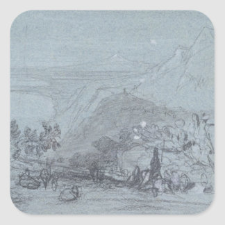 Taormina, from 'Views of Sicily' (chalk & gouache Square Sticker
