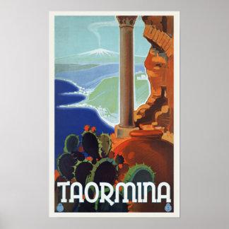 Taormina Italy - Vintage Travel Poster