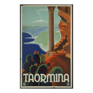 Taormina Vintage Travel Poster Ad Retro Prints