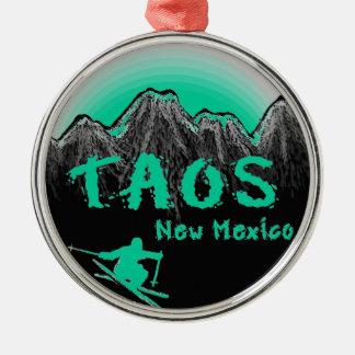 Taos New Mexico artistic skier Metal Ornament
