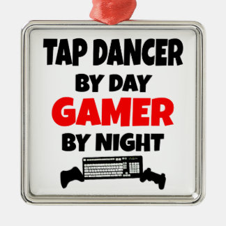 Tap Dancer by Day Gamer by Night Silver-Colored Square Ornament