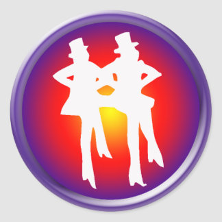 Tap dancers on a multi-colored background round sticker