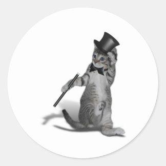 Tap Dancing Cat Round Sticker