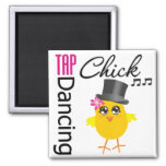 Tap Dancing Chick 2 Square Magnet