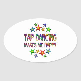 Tap Dancing Happy Oval Sticker