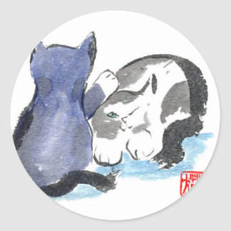 Tap, Tap, Tap Kitten wants to Play, Sumi-e Round Sticker